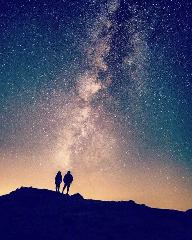 Couple stargazing in Tenerife